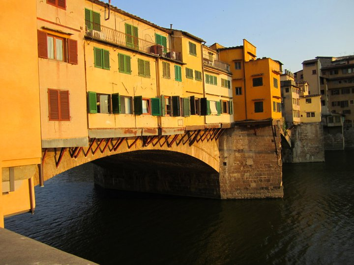 The Ponte Vecchio arching over the Arno river selling gold and jewelry-- and the one street in Florence I'm not likely to confuse with any other street.